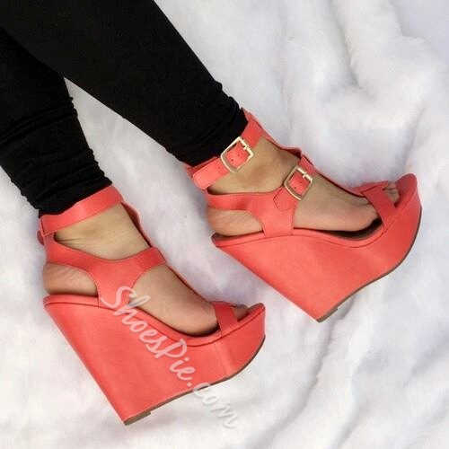 Shoespie Colorful Buckle Decorated Wedge Sandals