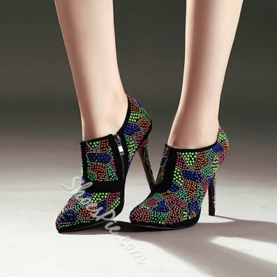 Shoespie Colorful Rhinestone Stiletto Heel Ankle Boots