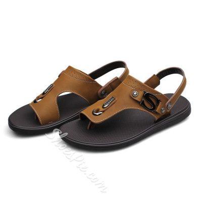 Shoespie Comfortable Leather Metal Decoration Men's Sandals