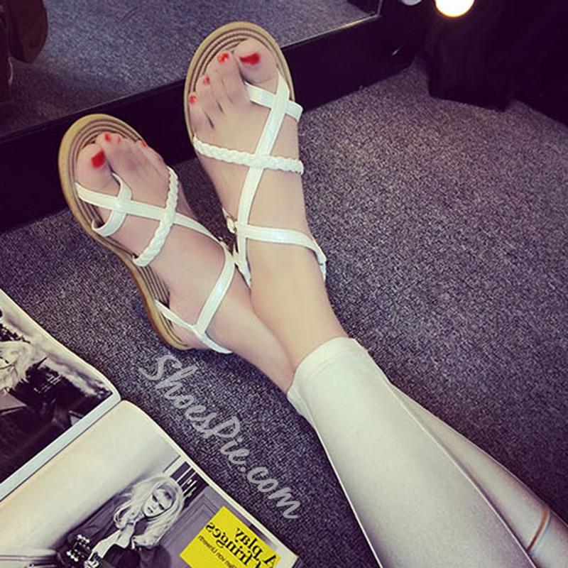 Shoespie Concise Clip Toe Strap Flat Sandals