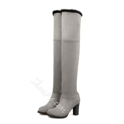 Shoespie Concise Patchwork Chunky Heel Thigh High Boots