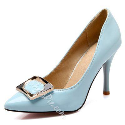 Shoespie Concise Rectangular Buckle Stiletto Heels