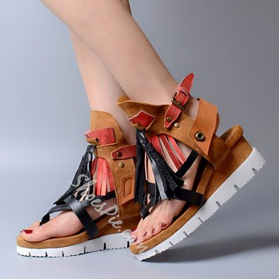 Shoespie Contrast Color Flat Sandals