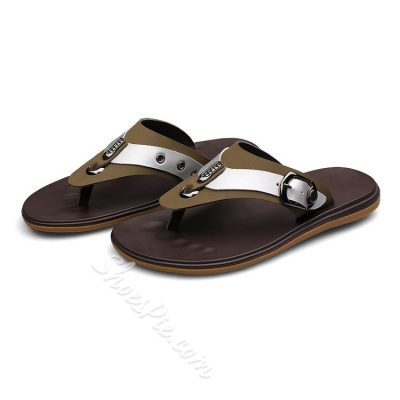 Shoespie Contrast Color Metal Decoration Men's Slipper