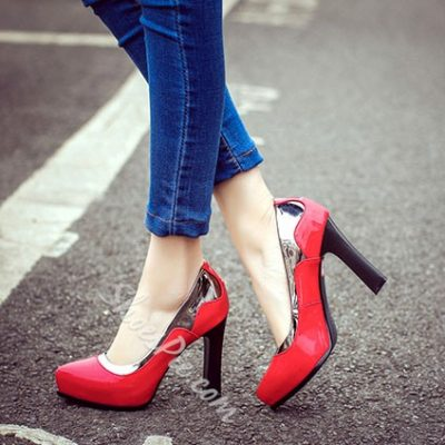 Shoespie Contrast Color Patchwork Chunky Heel Pumps