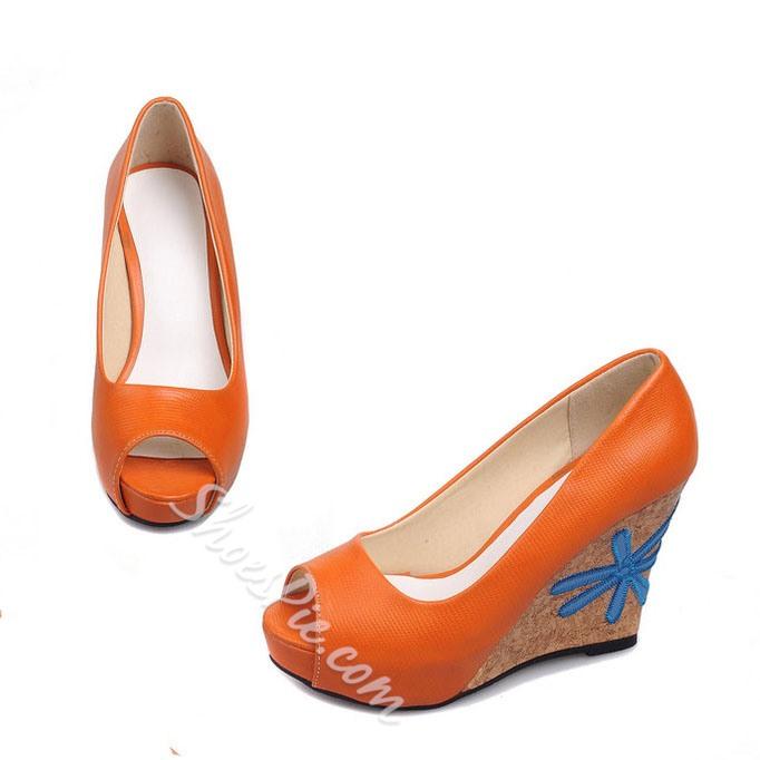 Shoespie Contrast Color Peep-toe Heels