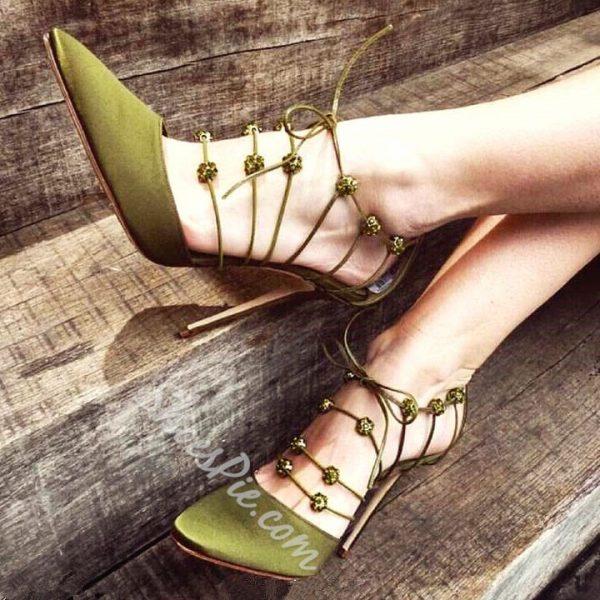 Shoespie Creative Lace Up Stiletto Heels