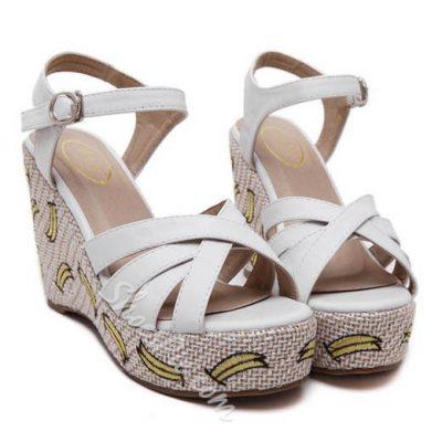 Shoespie Cute Banana Embroidery Wedge Sandals