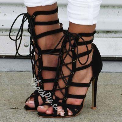 Shoespie Cutout Lace-up Stiletto Sandals