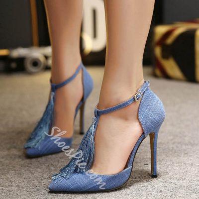 Shoespie Denim Blue Tassels Dress Sandals