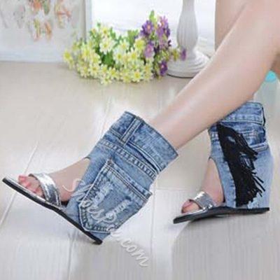 Shoespie Denim Wedge Sandals