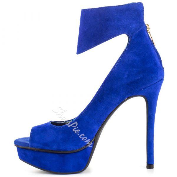 Shoespie Elegant Blue Peep Toe Ankle Wrap Platform Heels