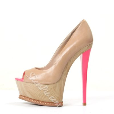 Shoespie Elegant Nude Peep Toe Platform Heels