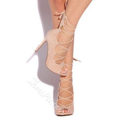 Shoespie Elegant Peep Toe Lace Up Stiletto Heels
