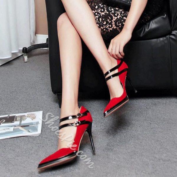 Shoespie Elegant Red Ankle Wrap Stiletto Heels