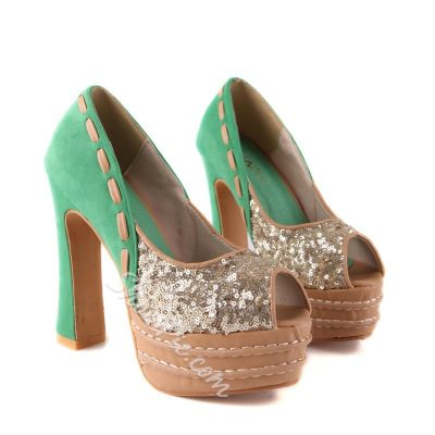 Shoespie Exotic Color Block Peep Toe Platform Heels