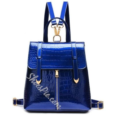 Shoespie Fashion Pure Color Zipper PU Backpack