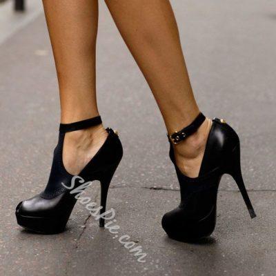 Shoespie Fashionablel Ankle Wrap Black Platform Heels