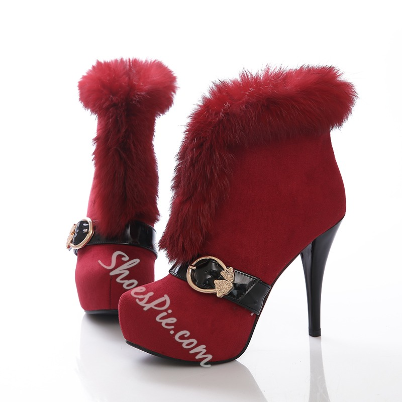 Shoespie Faux fur Brimmed Buckle Decoration Ankle Boots