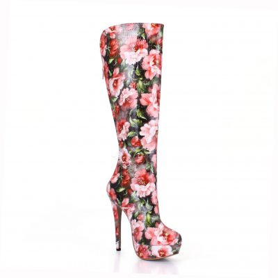 Shoespie Flower Print High Heels Knee High Boots