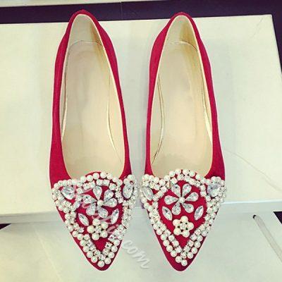 Shoespie Flower Rhinestone Loafers