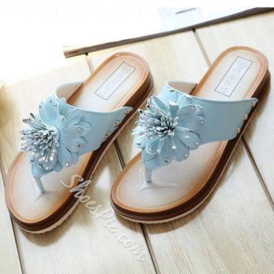 Shoespie Flower Thong Flat Slipper