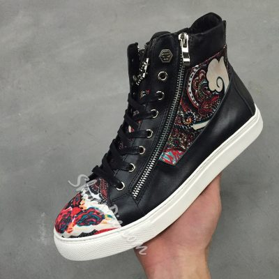 Shoespie Folk Print Zipper Sneakers