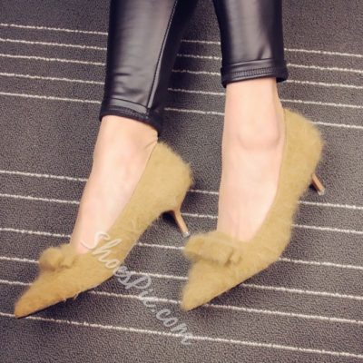 Shoespie Furry Knot Low Heel Pumps