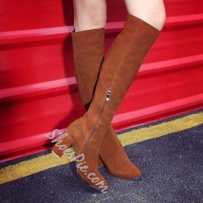 Shoespie Genuine Leather Chunky Heel Knee High Boots