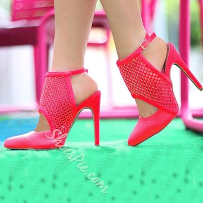 Shoespie Genuine Leather Cut-outs Stiletto Heels
