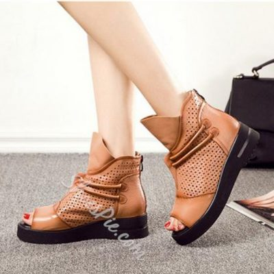 Shoespie Genuine Leather Open Toe Sneakers