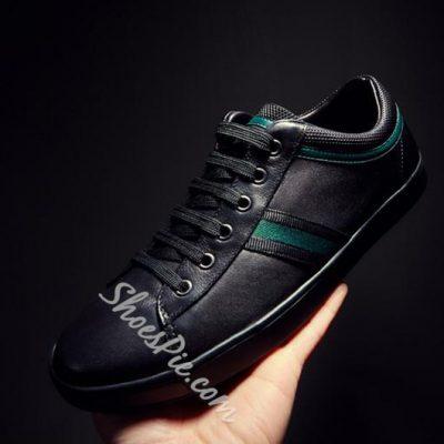 Shoespie Genuine Leather PInstripe Men's Sneakers