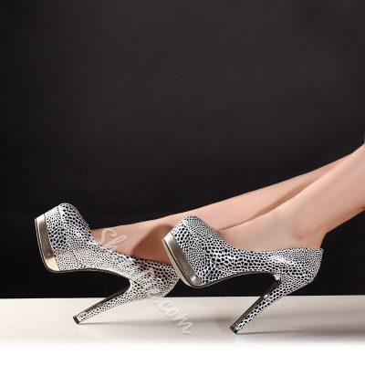 Shoespie Glitter Round-toe Platform Heels