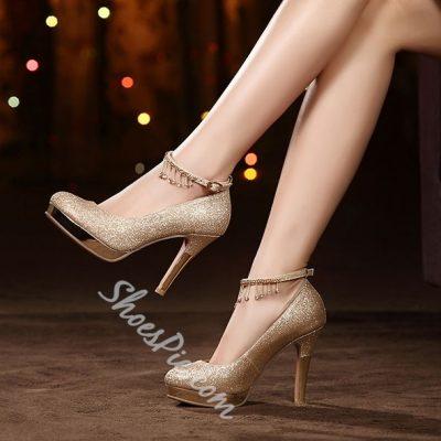 Shoespie Glitter Tassels Bridal Shoes