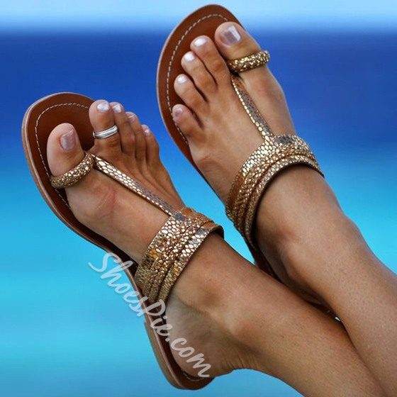 Shoespie Golden Clip Toe Flat Sandals