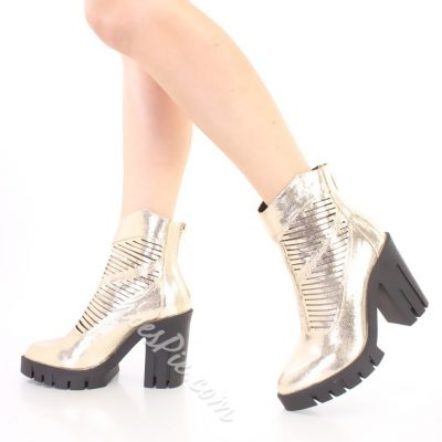 Shoespie Golden Cut outs Zipper Chunky Heel Ankle Boots