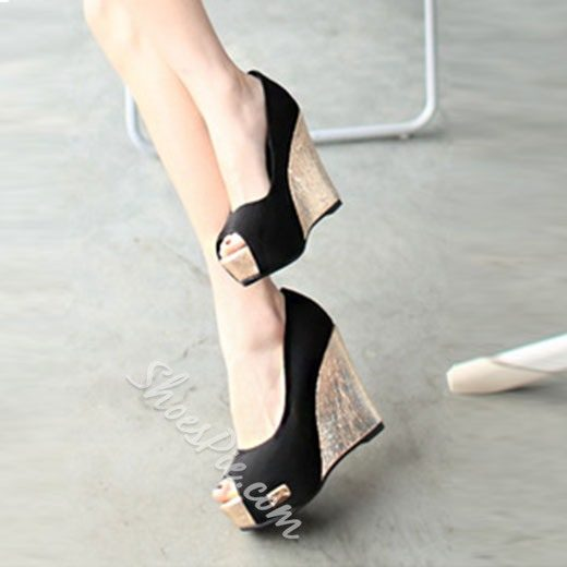 Shoespie Golden Wedge Heel Peep Toe Heels