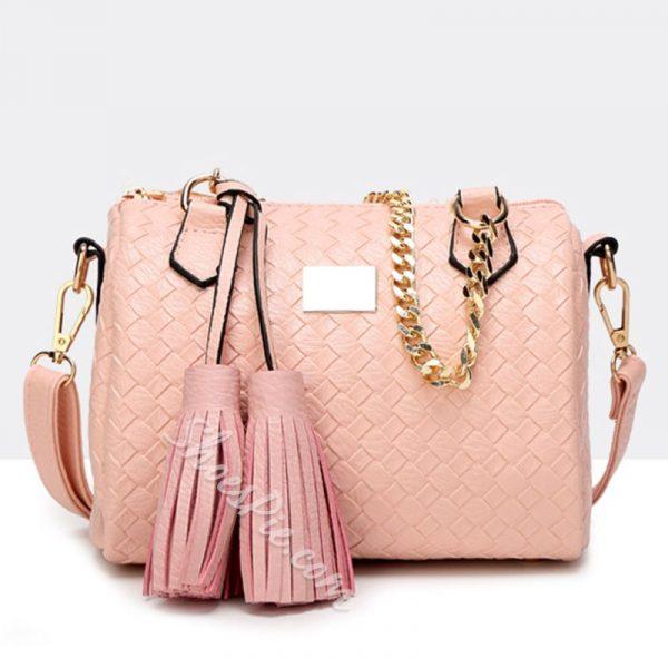 Shoespie Gorgeous Glossy Weave Tassels Handbag