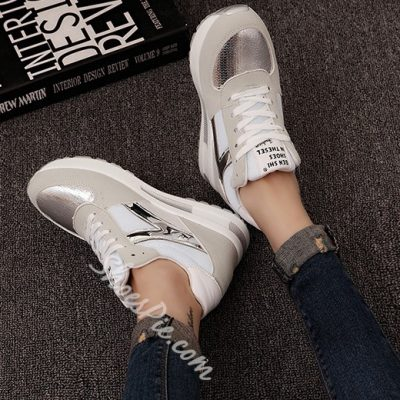 Shoespie Gorgeous Metallic Patchwork Sneakers