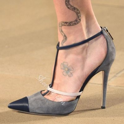 Shoespie Gray Pointed Toe Stiletto Heels
