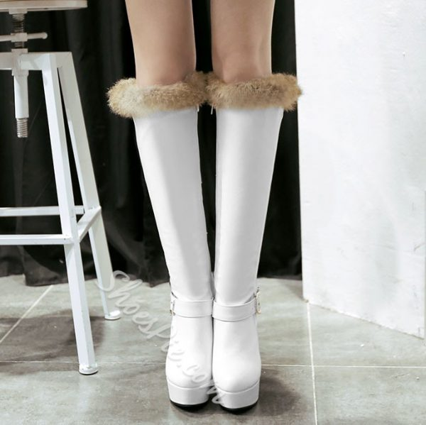 Shoespie Hairy Buckles Knee High Boots
