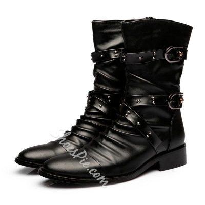 Shoespie Handsome Buckles Decoration Men's Boots