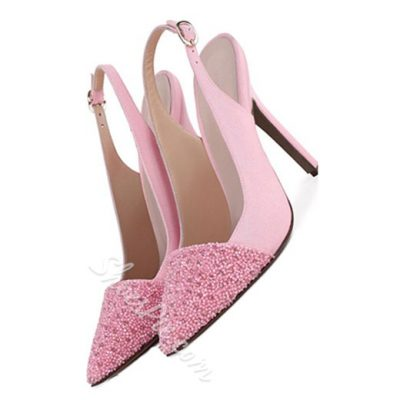 Shoespie Hot Pink Rhinestone Stiletto Heel Slingbacks
