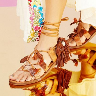Shoespie Lace Up Fringes Shells and Leaves Decoration Flat Sandals