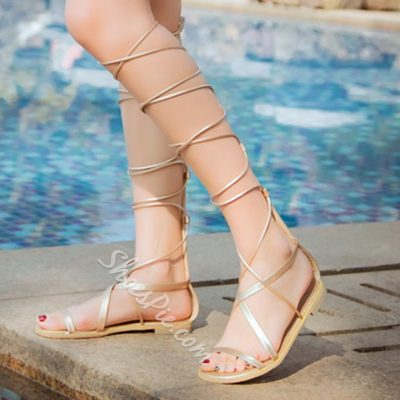 Shoespie Lace Up Gladiator Flat Snadals