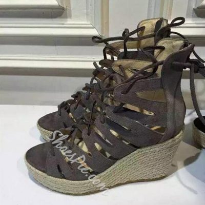 Shoespie Lace-Up Wedge Sandals
