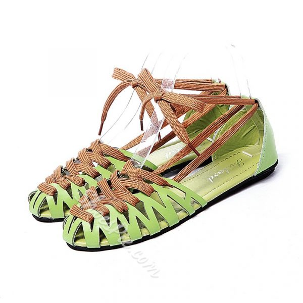 Shoespie Lace-up Assorted Color Weaving Flat Sandals