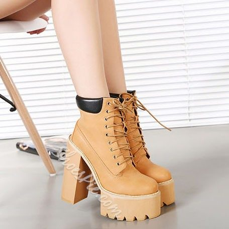 Shoespie Lace-up Chunky Heel Platform Ankle Boots