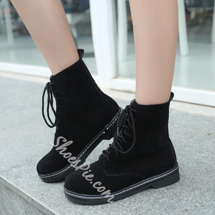 Shoespie Lace Up Flat Boots Fashion 4 Shoes