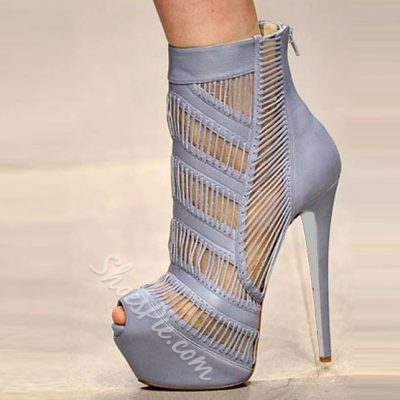 Shoespie Light Blue Cut Out Ankle Boots